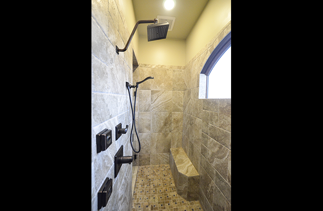 Rustic Master Shower in New Custom Home